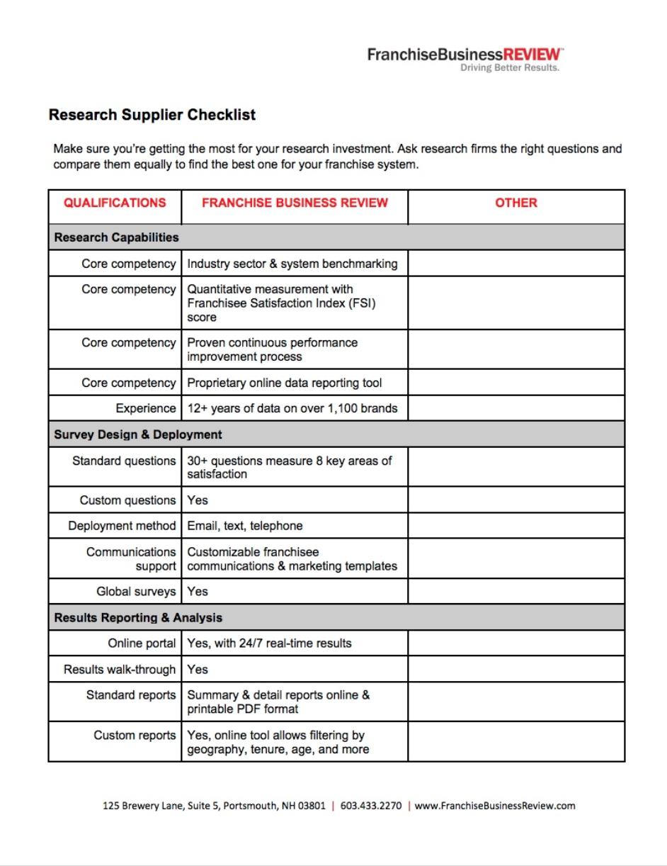 Supplier Checklist